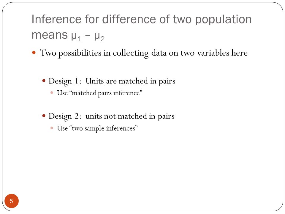 Inference for difference of two population means μ1 – μ2