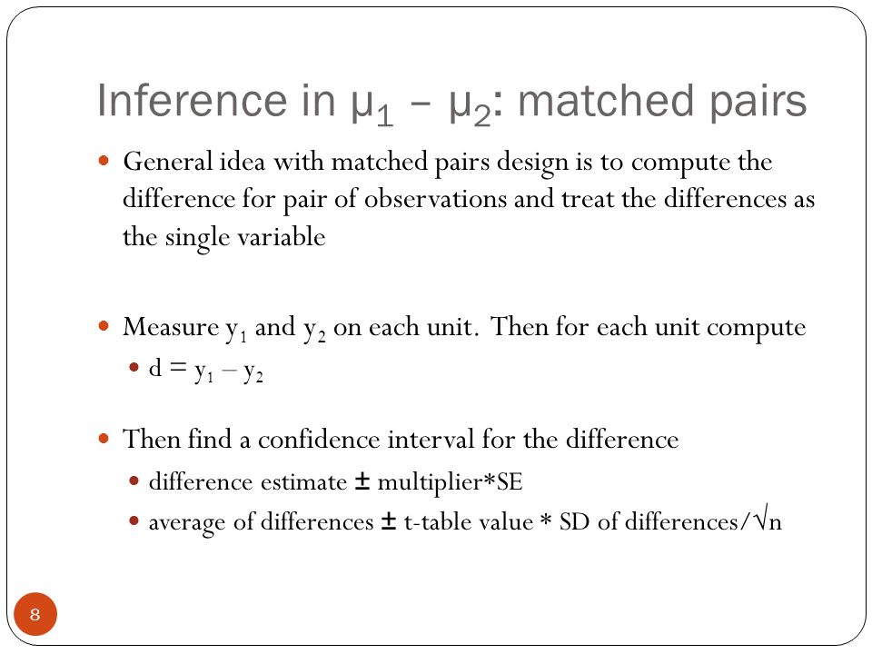 Inference in μ1 – μ2: matched pairs
