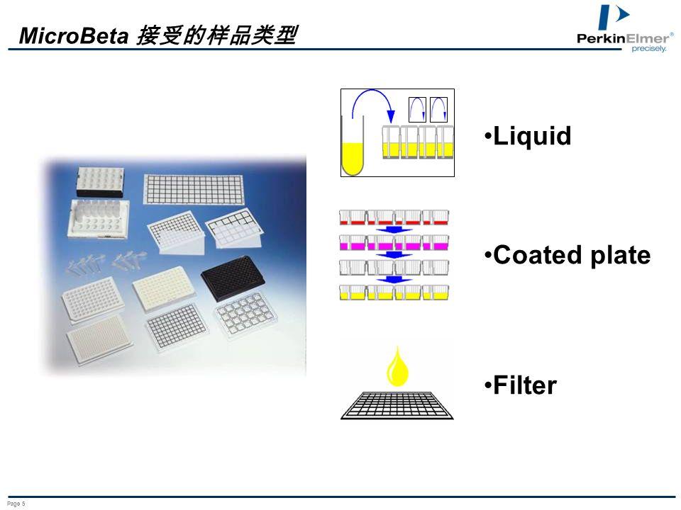MicroBeta 接受的样品类型 Liquid Coated plate Filter Page 5