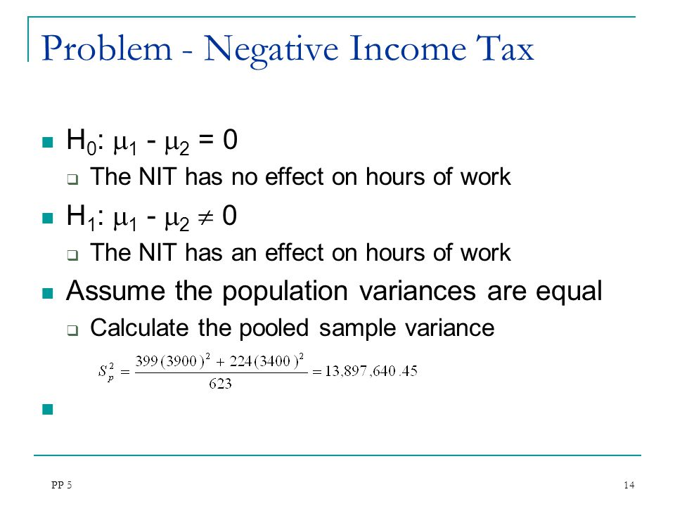 Problem - Negative Income Tax
