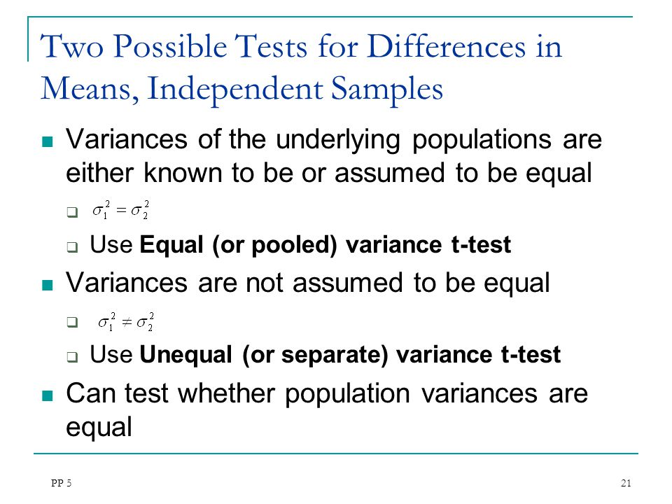 Two Possible Tests for Differences in Means, Independent Samples