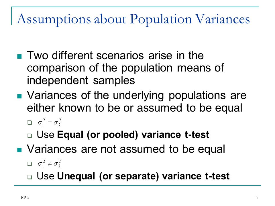 Assumptions about Population Variances