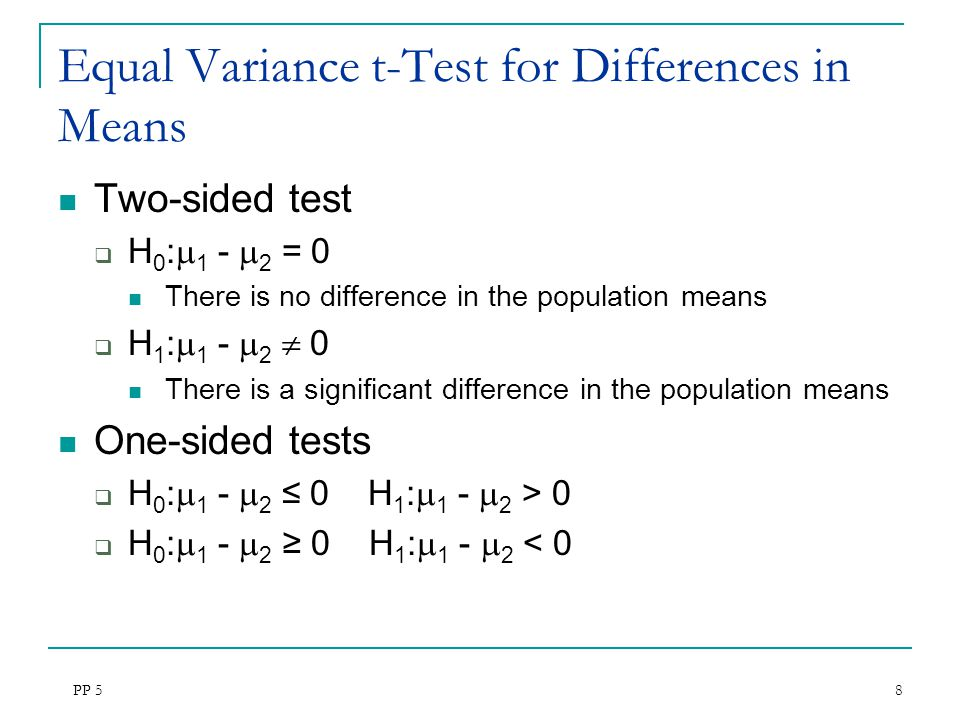 Equal Variance t-Test for Differences in Means