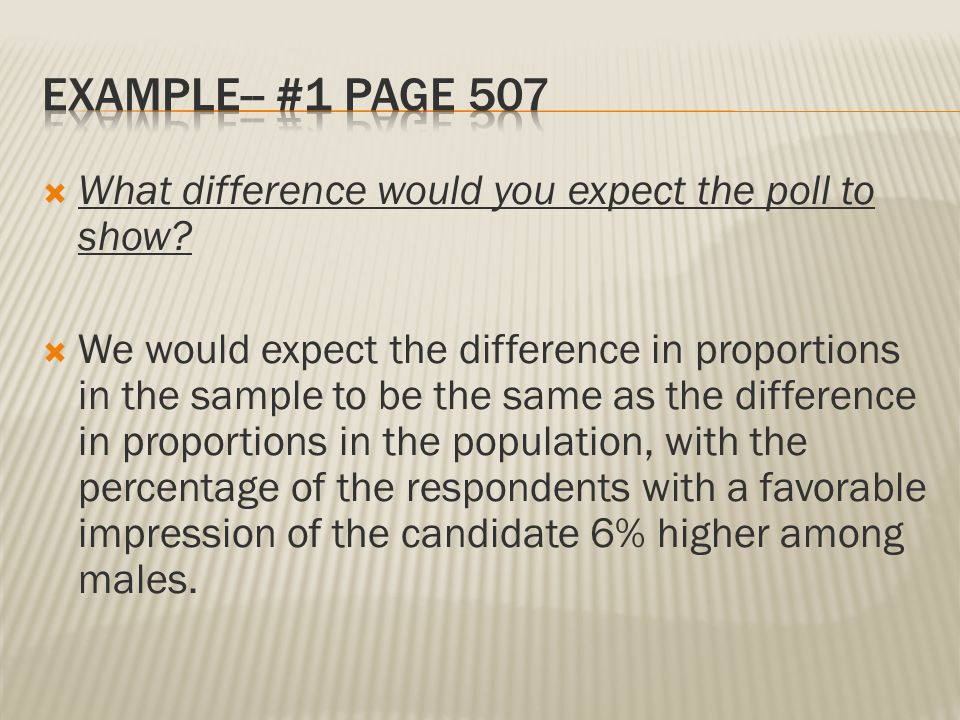 Example-- #1 Page 507 What difference would you expect the poll to show