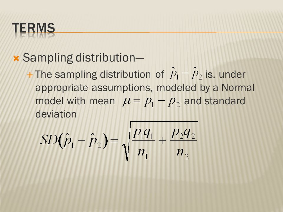 Terms Sampling distribution—