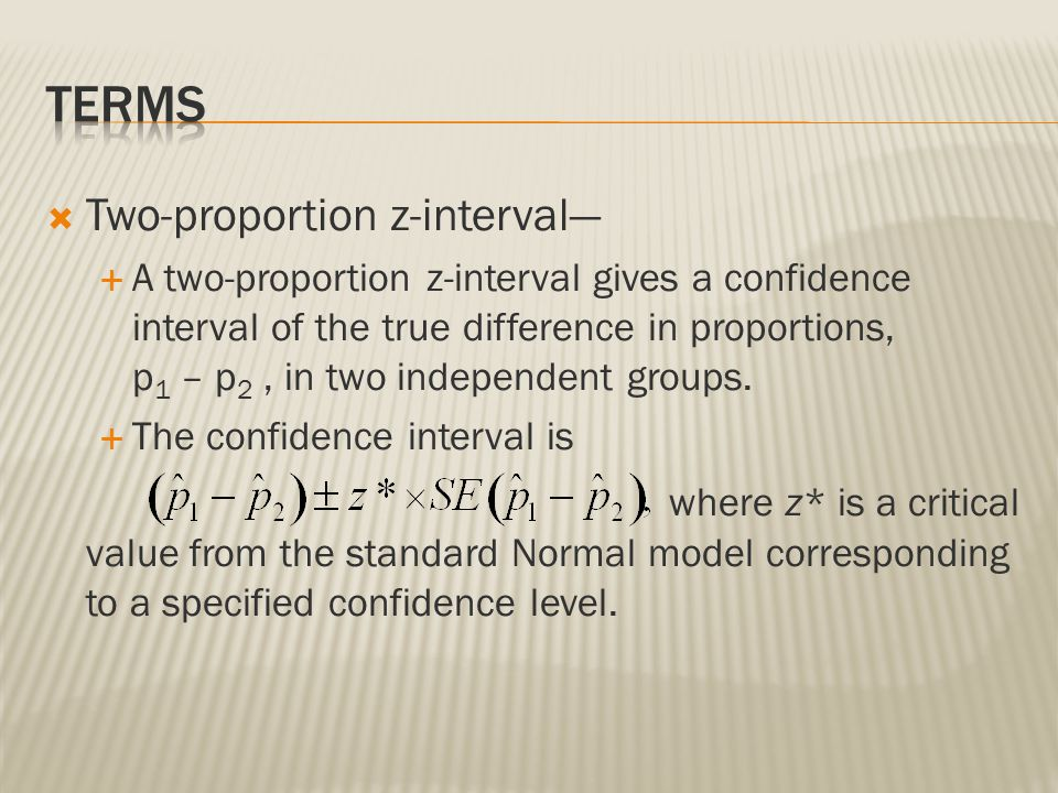 terms Two-proportion z-interval—