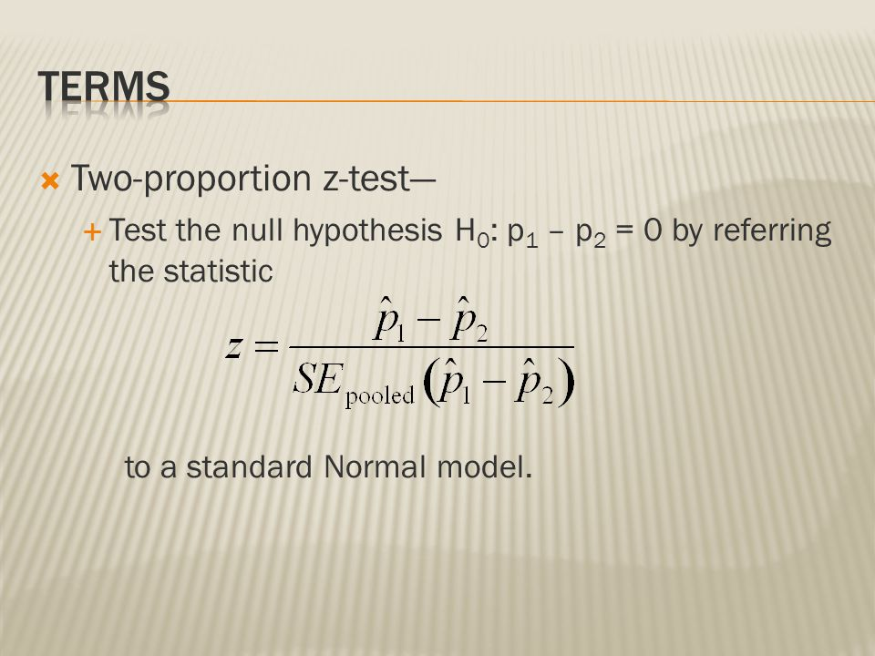 Terms Two-proportion z-test—