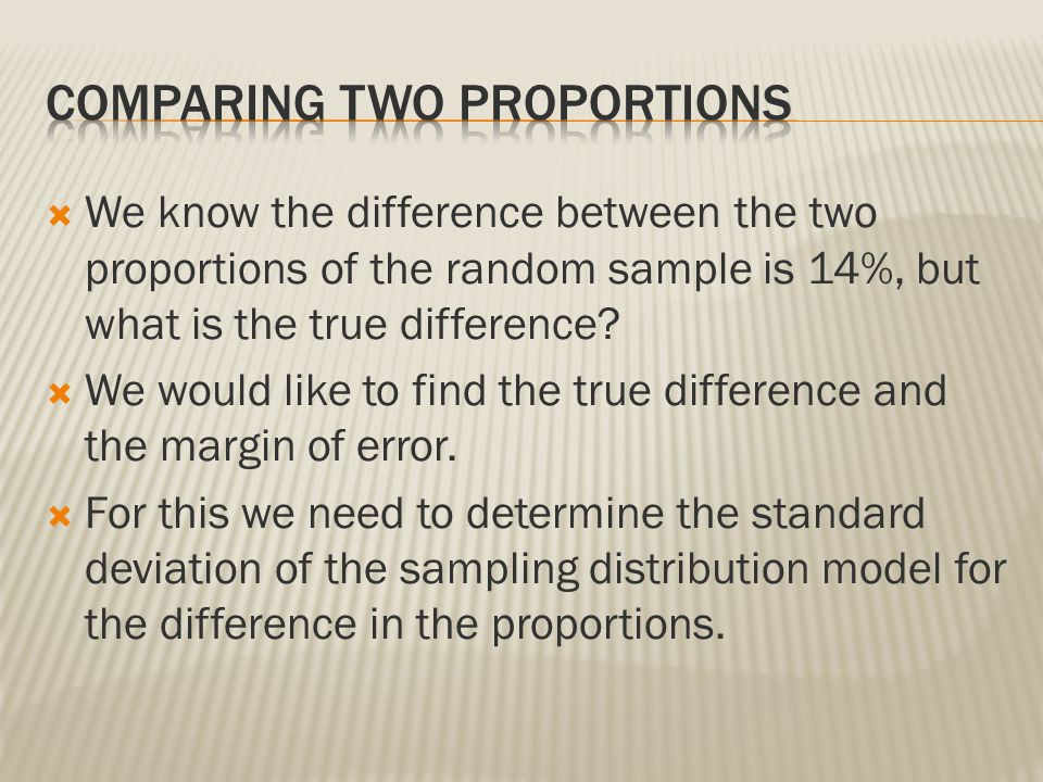 Comparing two proportions