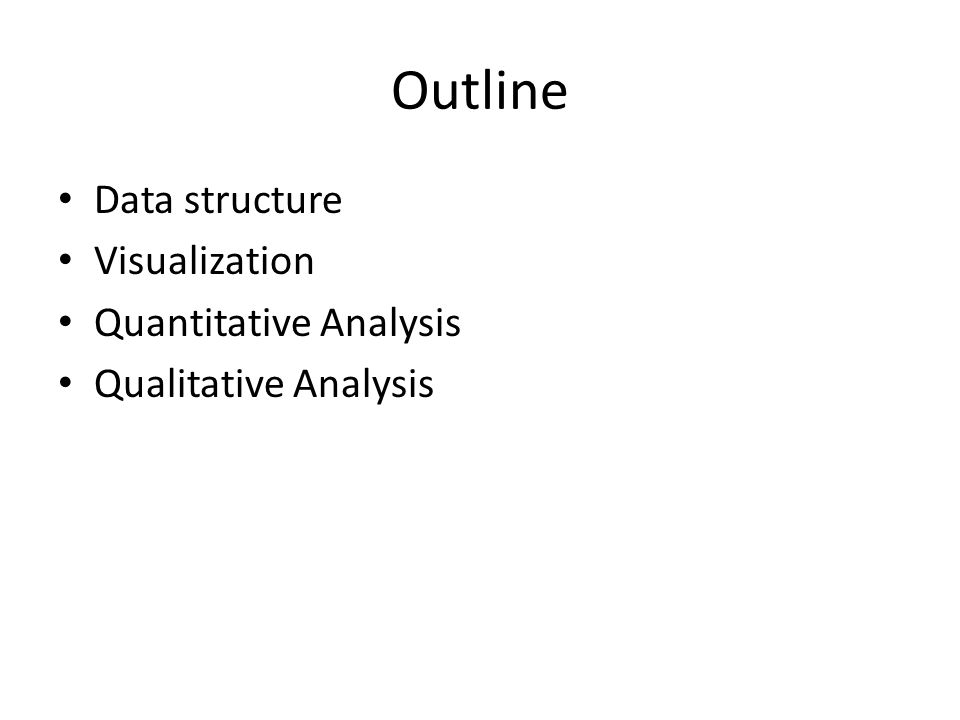 Outline Data structure Visualization Quantitative Analysis