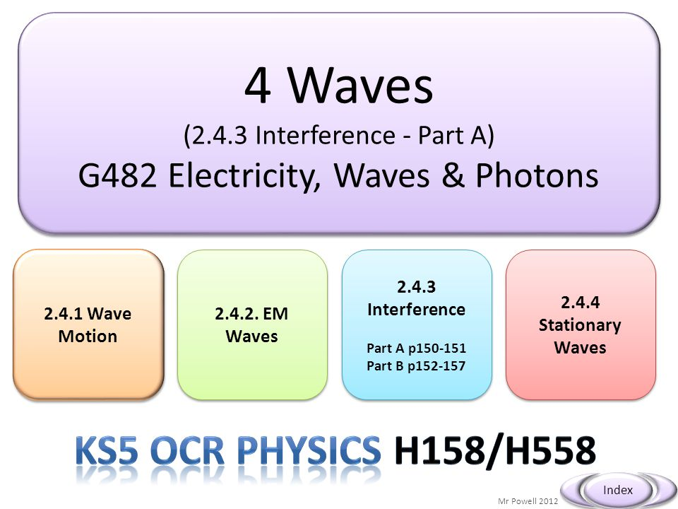 4 Waves Ks5 OCR Physics H158/H558 G482 Electricity, Waves & Photons