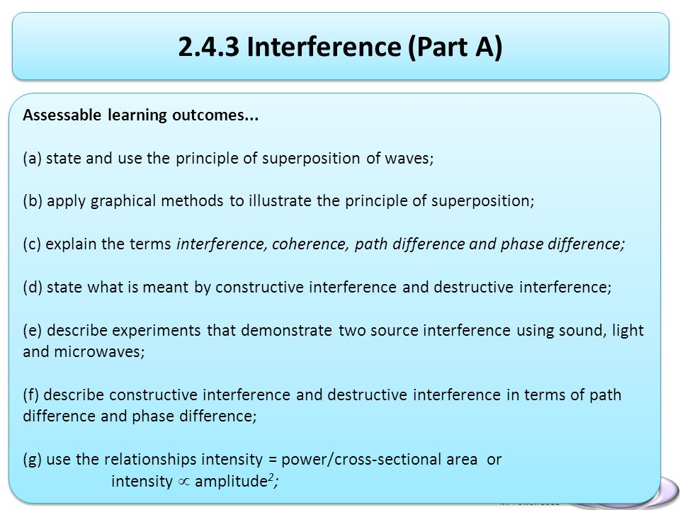 2.4.3 Interference (Part A) Assessable learning outcomes...