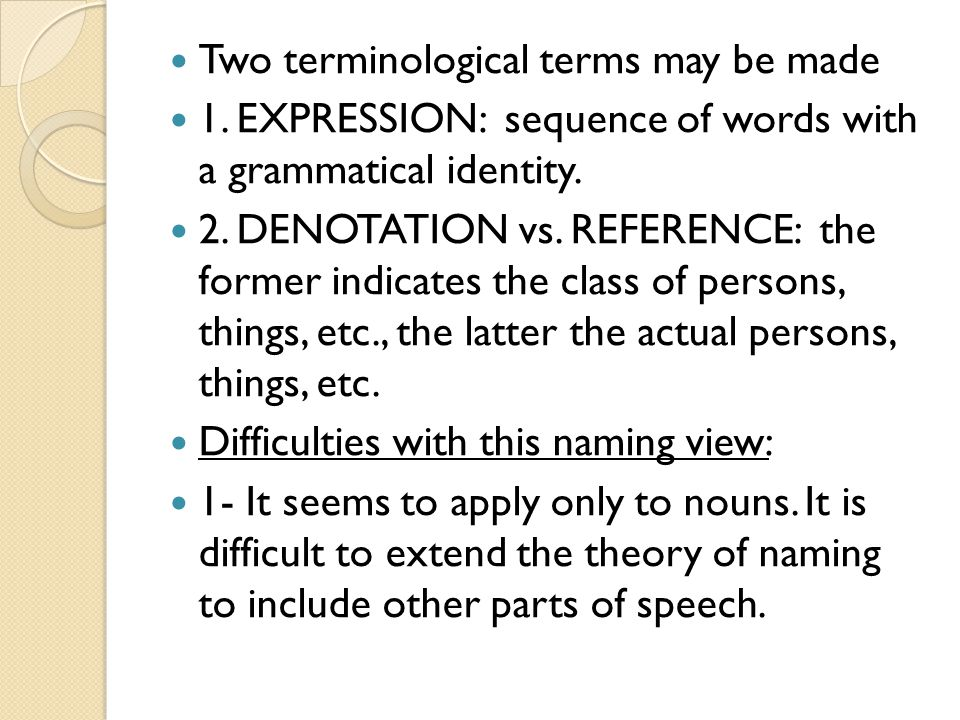 Two terminological terms may be made