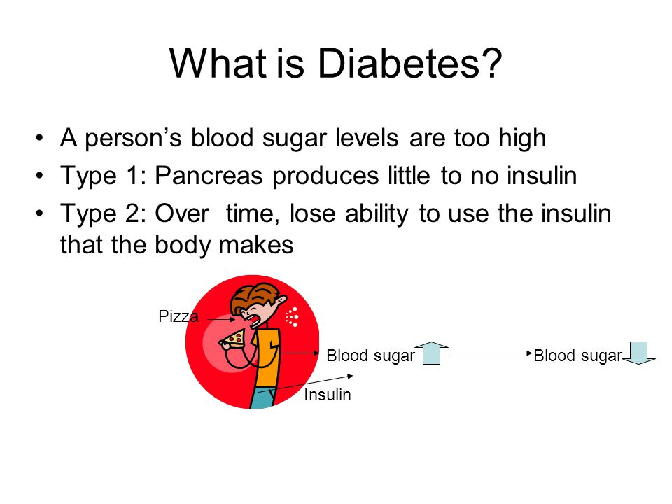 What is Diabetes A person's blood sugar levels are too high