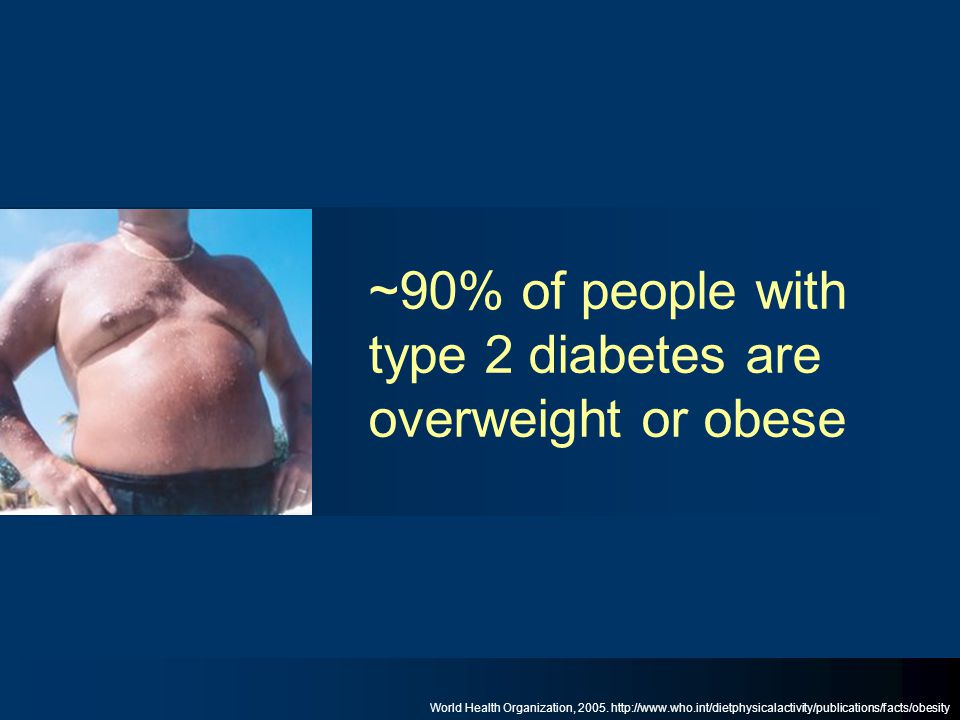 ~90% of people with type 2 diabetes are overweight or obese