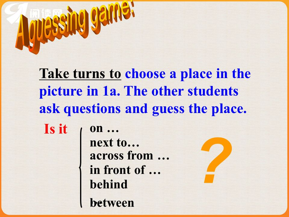 A guessing game:Take turns to choose a place in the picture in 1a. The other students ask questions and guess the place.