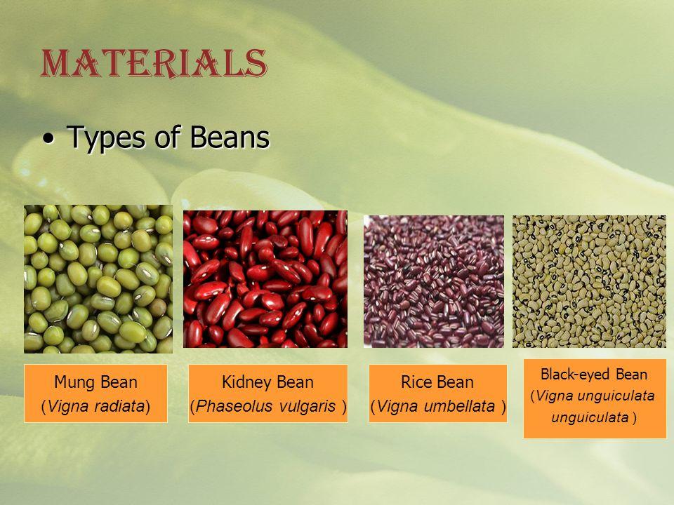 MATERIALS Types of Beans Mung Bean (Vigna radiata) Kidney Bean