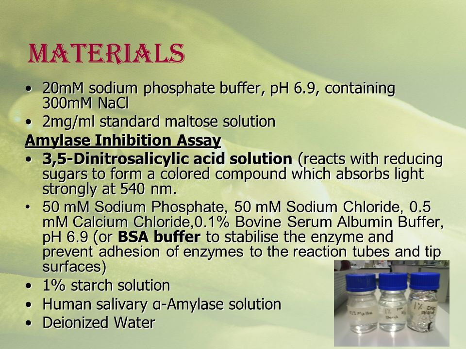 MATERIALS 20mM sodium phosphate buffer, pH 6.9, containing 300mM NaCl