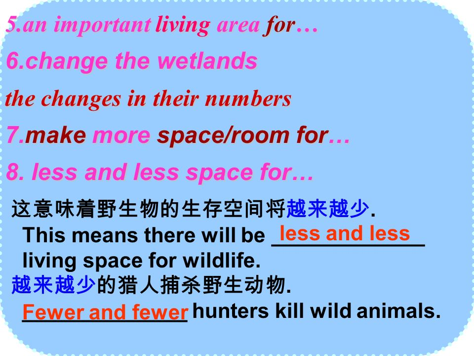 5.an important living area for… 6.change the wetlands