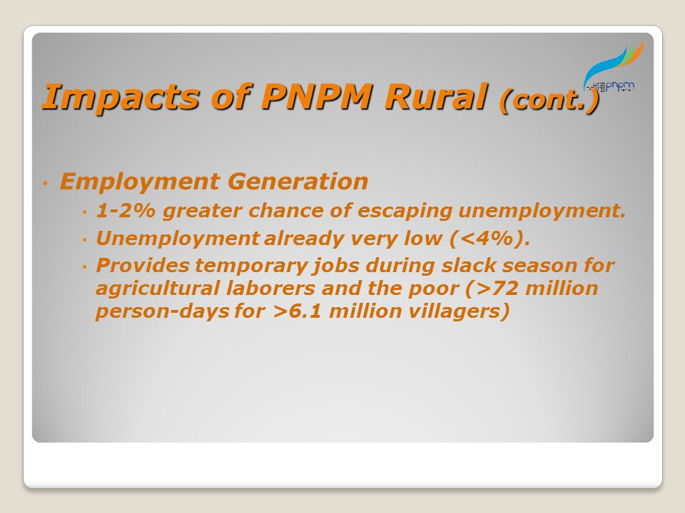 Impacts of PNPM Rural (cont.)