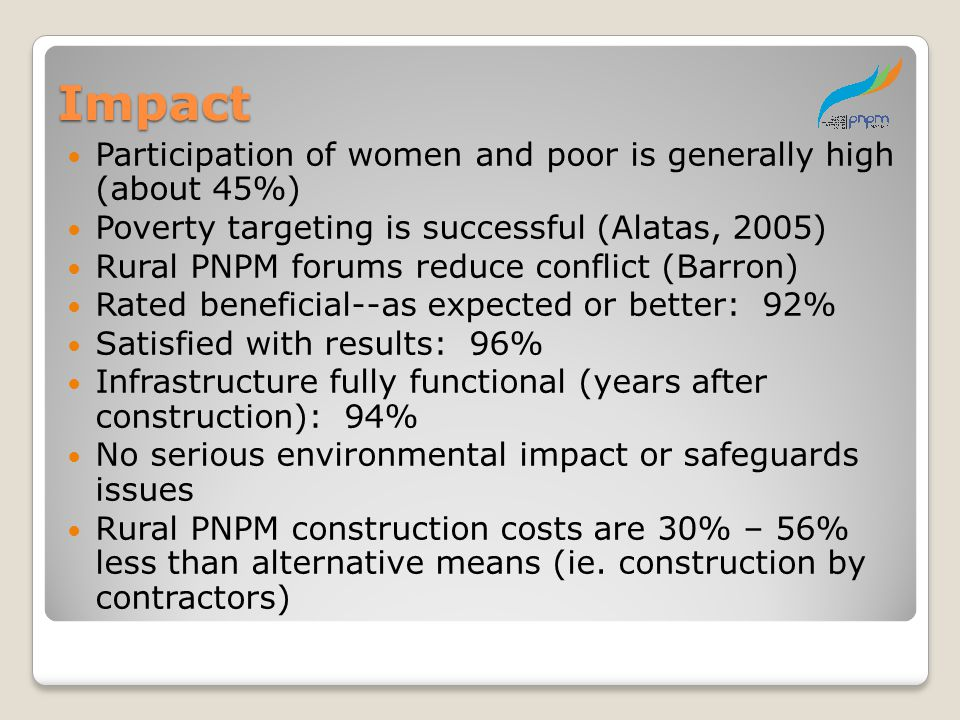 Impact Participation of women and poor is generally high (about 45%)