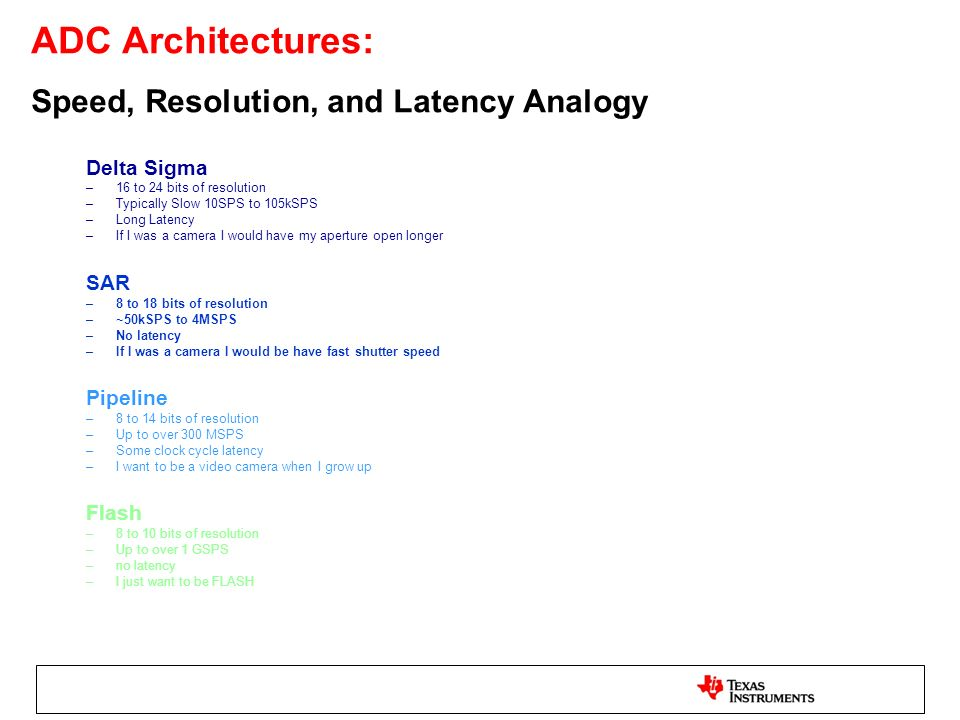 ADC Architectures: Speed, Resolution, and Latency Analogy
