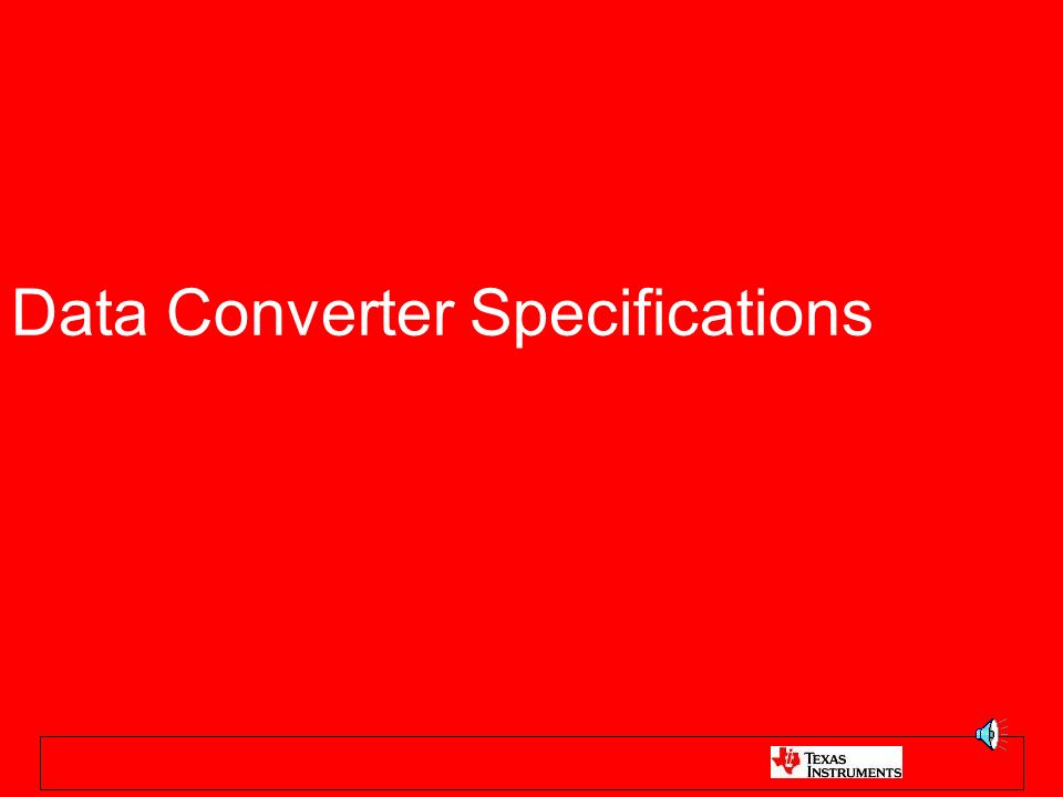 Data Converter Specifications