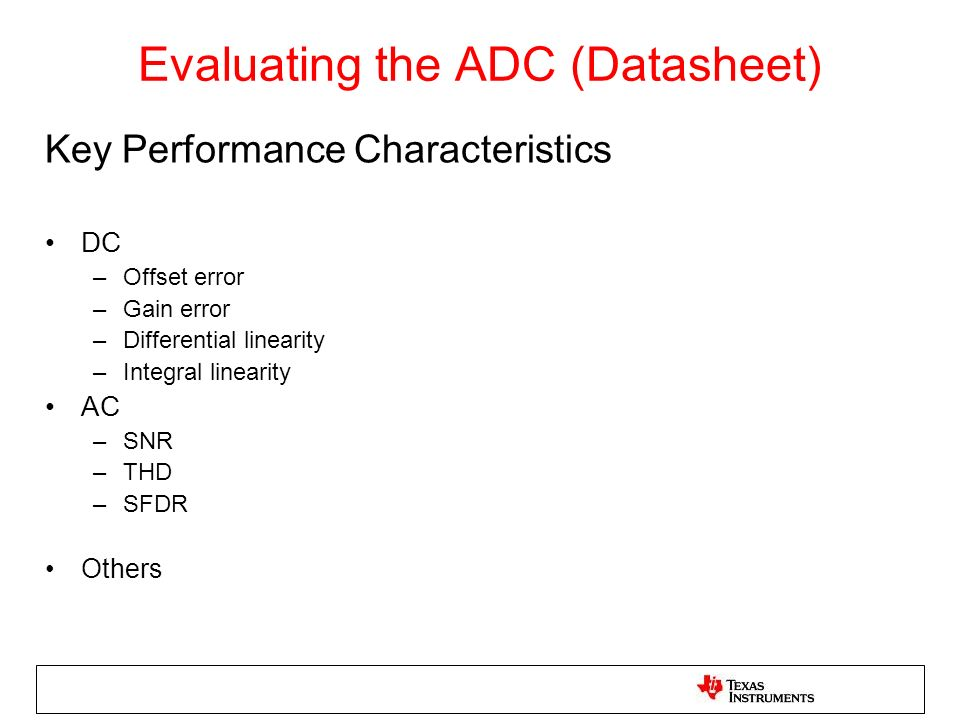 Evaluating the ADC (Datasheet)