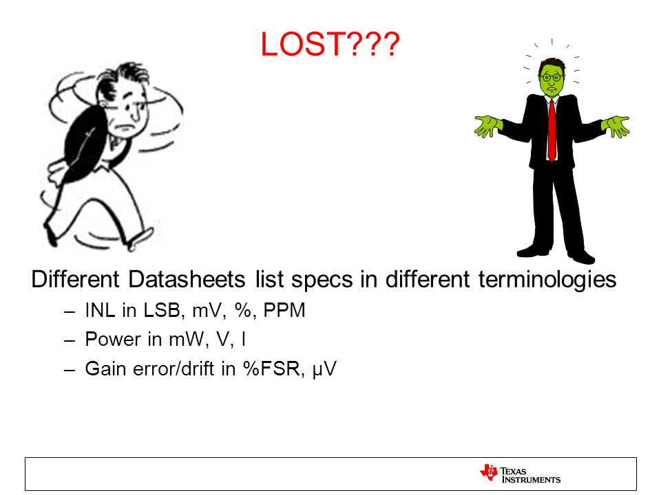 LOST Different Datasheets list specs in different terminologies