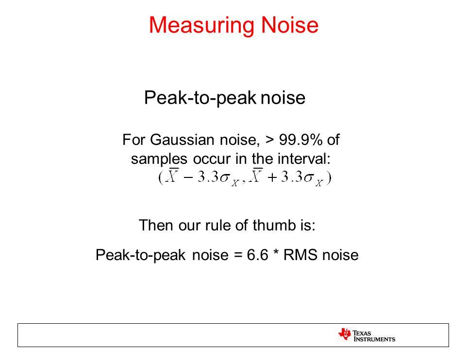 Measuring Noise Peak-to-peak noise