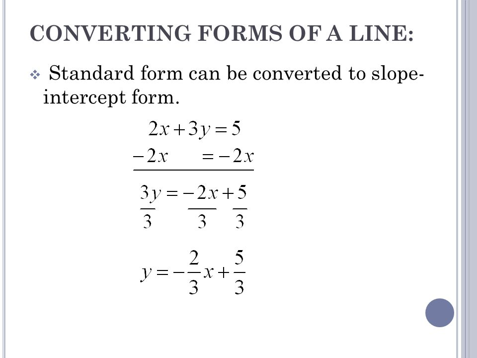 How To Write A Linear Equation In Standard Form With Fractions