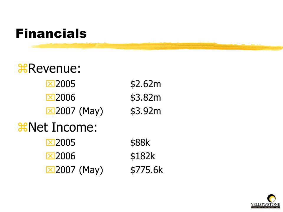 Financials Revenue: Net Income: 2005 $2.62m 2006 $3.82m
