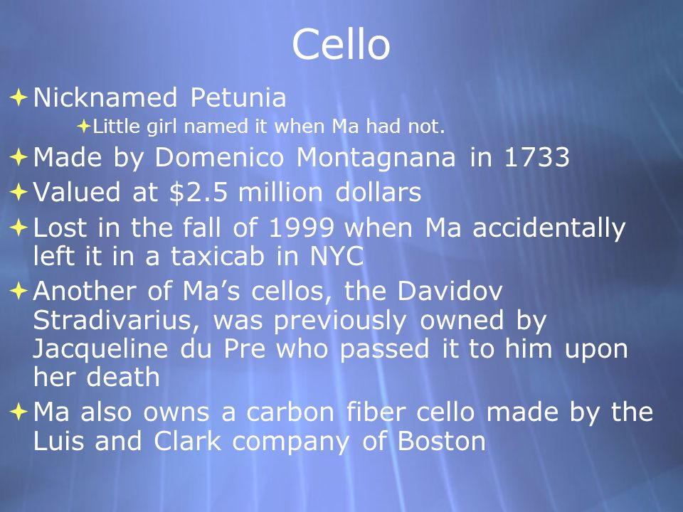 Cello Nicknamed Petunia Made by Domenico Montagnana in 1733