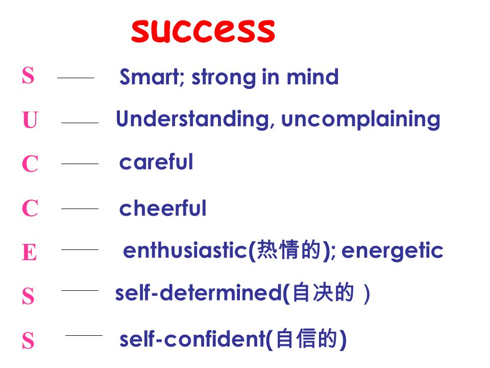 success S U C E Smart; strong in mind Understanding, uncomplaining