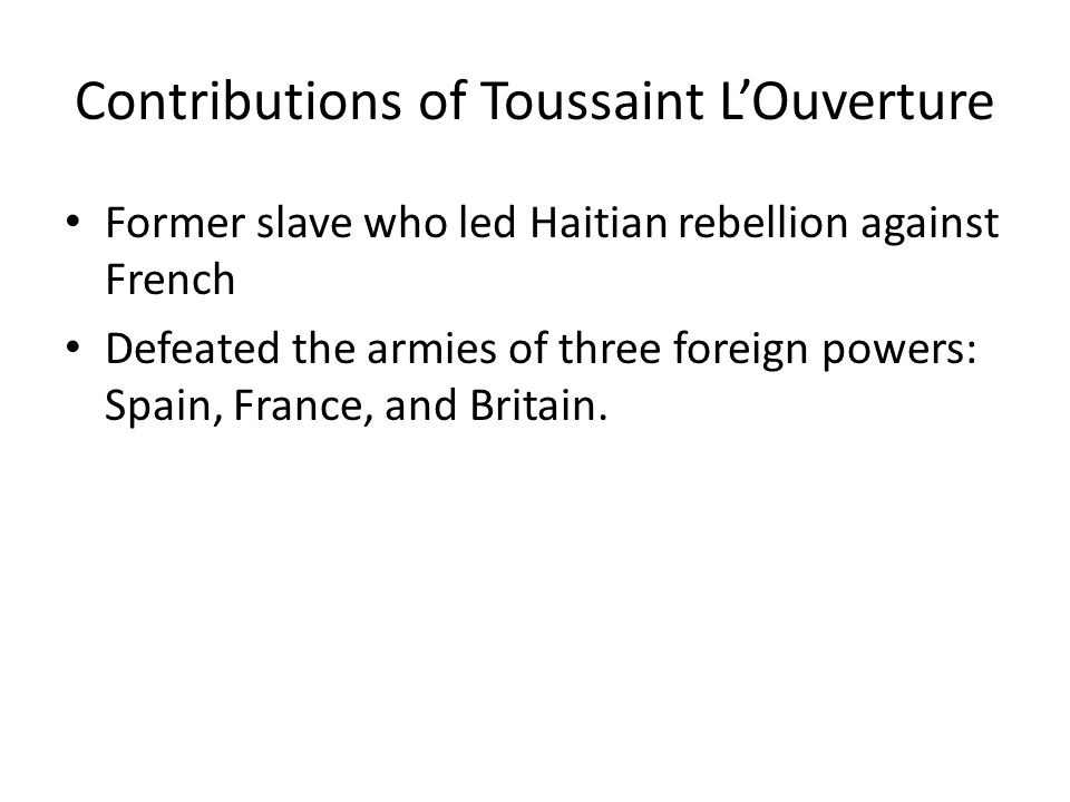 Contributions of Toussaint L'Ouverture