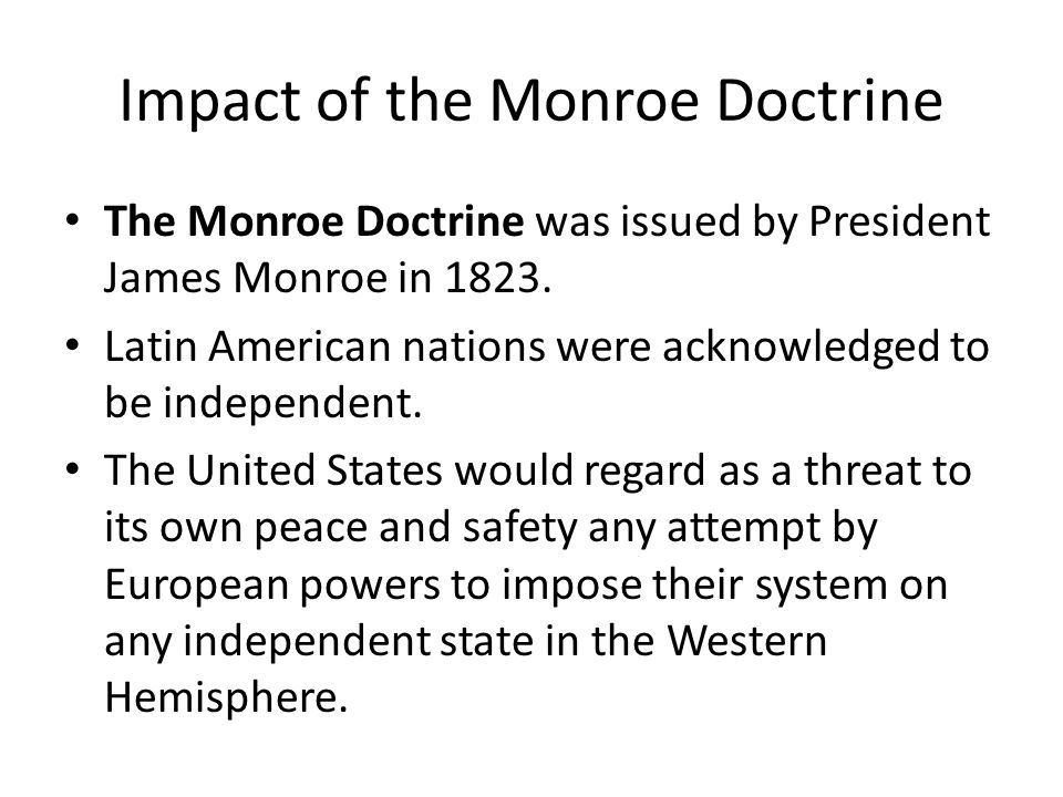 Impact of the Monroe Doctrine