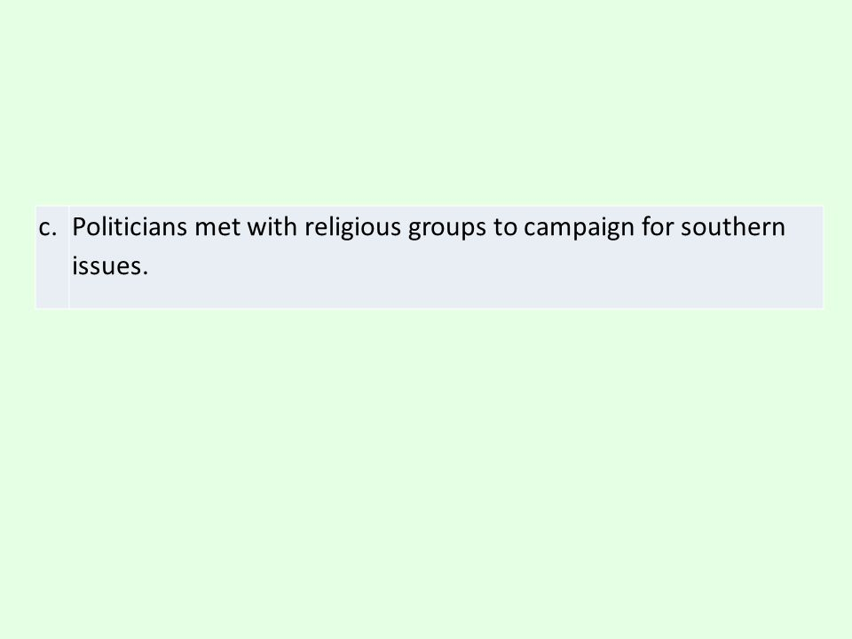 c. Politicians met with religious groups to campaign for southern issues.