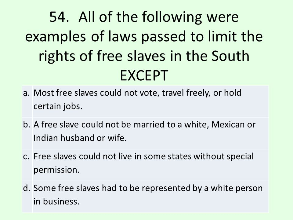 54. All of the following were examples of laws passed to limit the rights of free slaves in the South EXCEPT