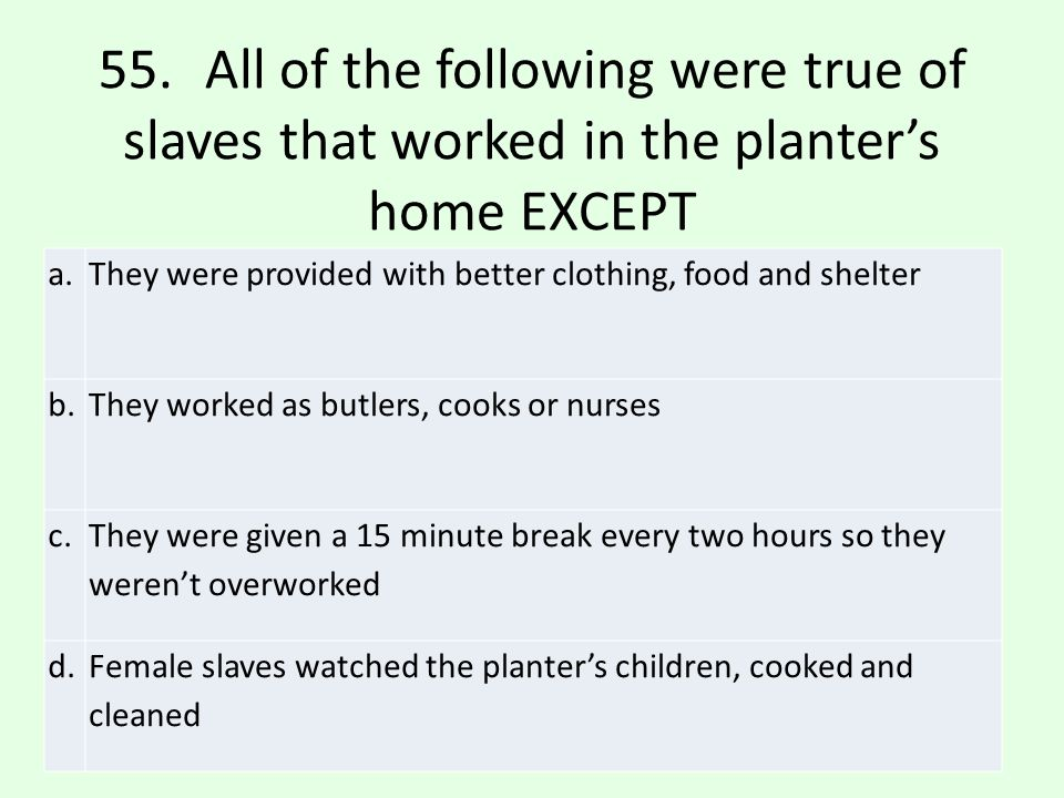 55. All of the following were true of slaves that worked in the planter's home EXCEPT