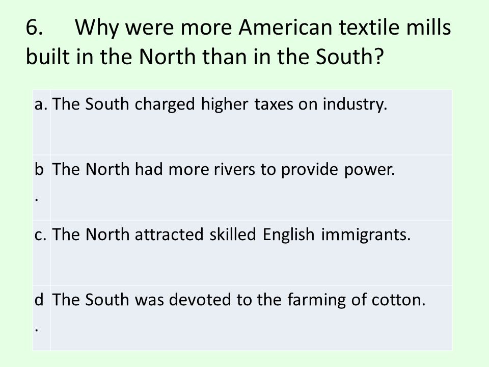 6. Why were more American textile mills built in the North than in the South