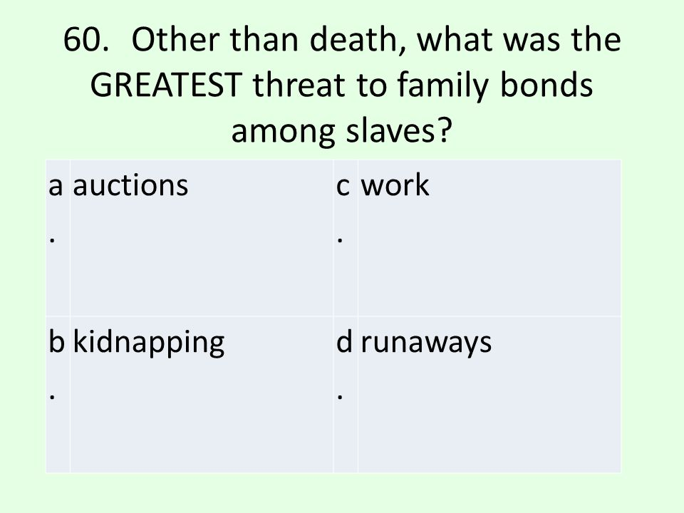 60. Other than death, what was the GREATEST threat to family bonds among slaves