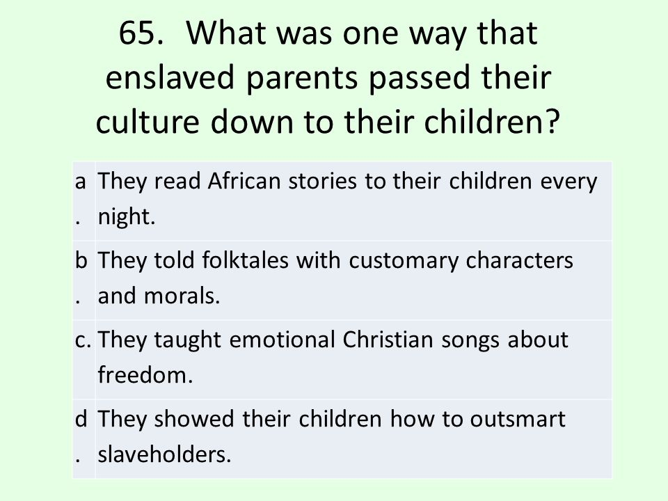 65. What was one way that enslaved parents passed their culture down to their children