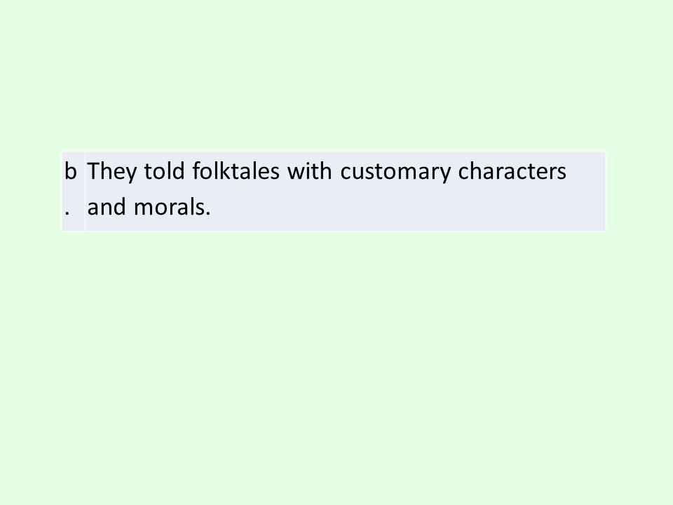 b. They told folktales with customary characters and morals.