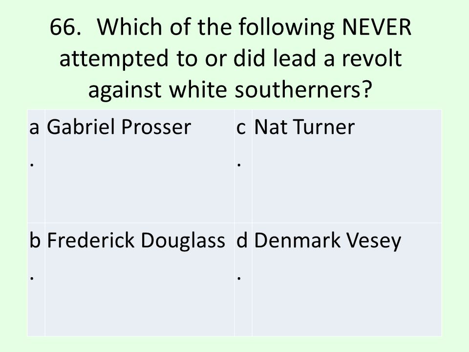 66. Which of the following NEVER attempted to or did lead a revolt against white southerners