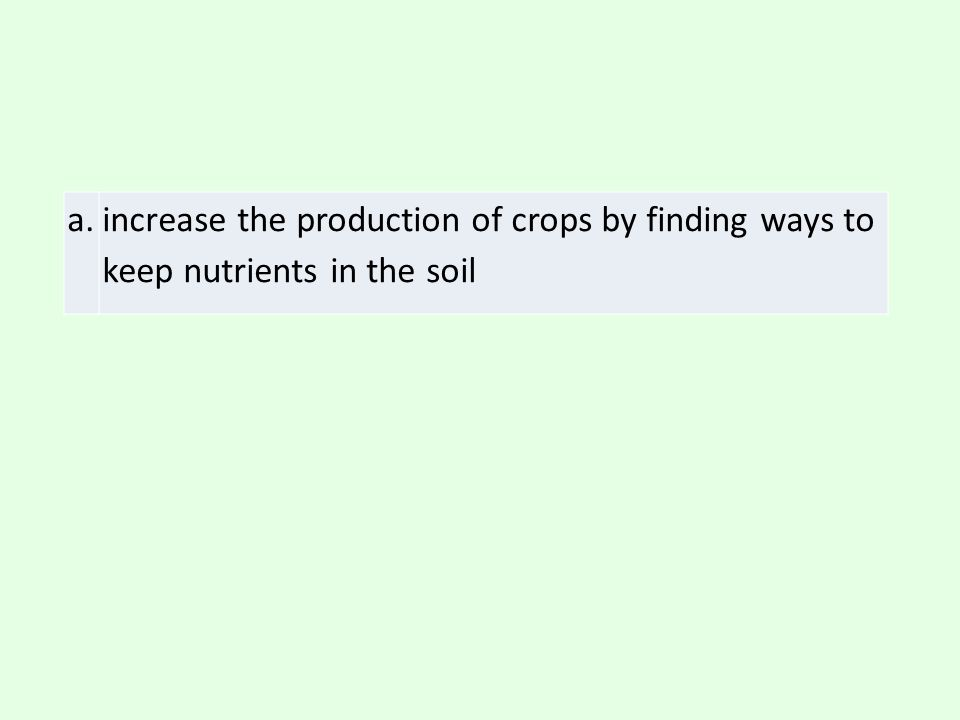 a. increase the production of crops by finding ways to keep nutrients in the soil