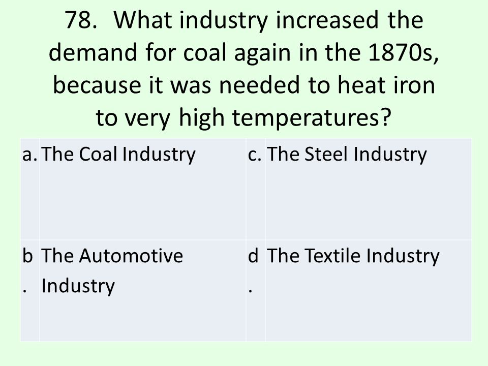 78. What industry increased the demand for coal again in the 1870s, because it was needed to heat iron to very high temperatures