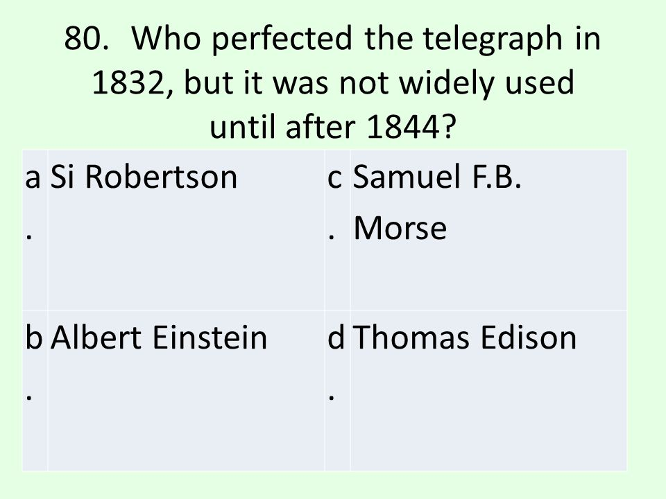80. Who perfected the telegraph in 1832, but it was not widely used until after 1844