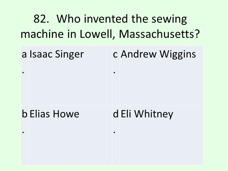 82. Who invented the sewing machine in Lowell, Massachusetts
