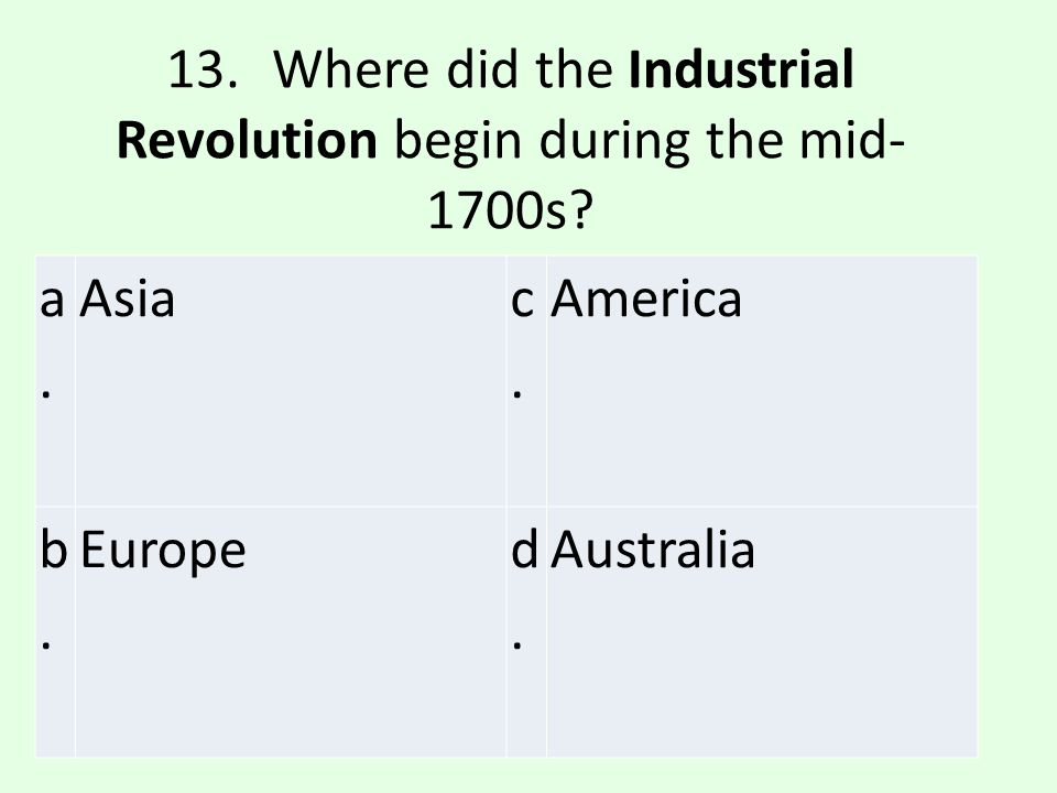 13. Where did the Industrial Revolution begin during the mid-1700s