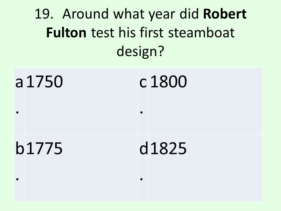 19. Around what year did Robert Fulton test his first steamboat design