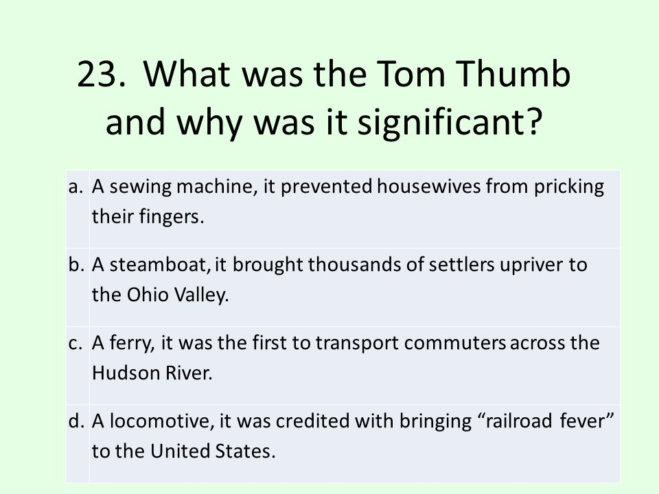 23. What was the Tom Thumb and why was it significant